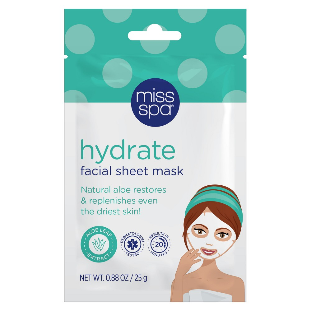 Unscented Miss Spa Hydrate Facial Sheet Mask - 1ct, Blue