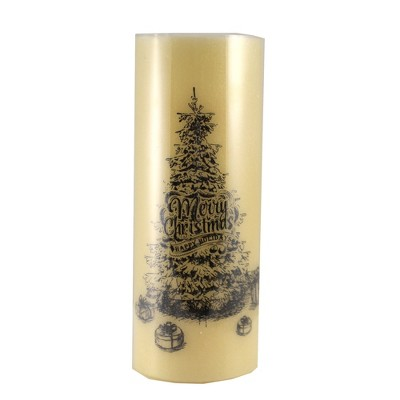 """Christmas 11.75"""" Led Tree Wax Pillar Candle Battery Operated  -  Flameless Candles"""