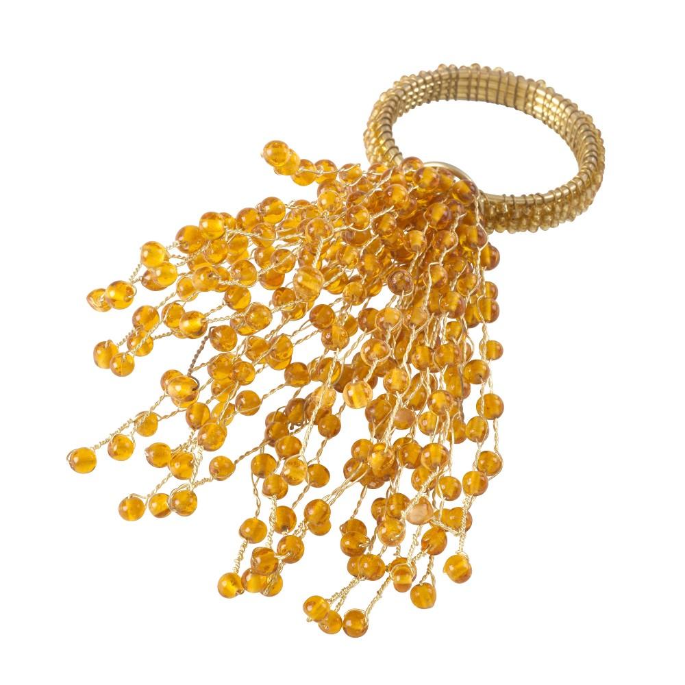 Image of Gold Beaded Burst Design Napkin Ring Set of 4 - Saro Lifestyle