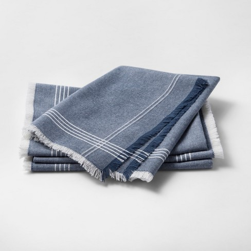 Metallic Blue Stripe Napkin - Threshold™ - image 1 of 1