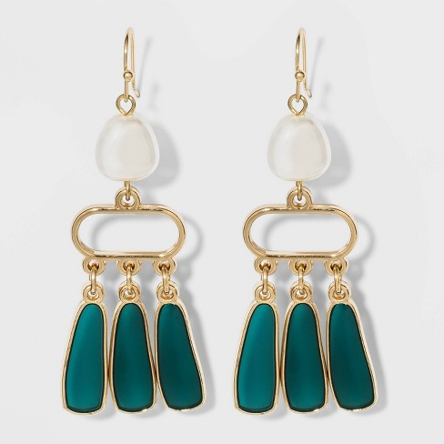 Metal and Pearl Dangle Earrings - A New Day™ - image 1 of 2