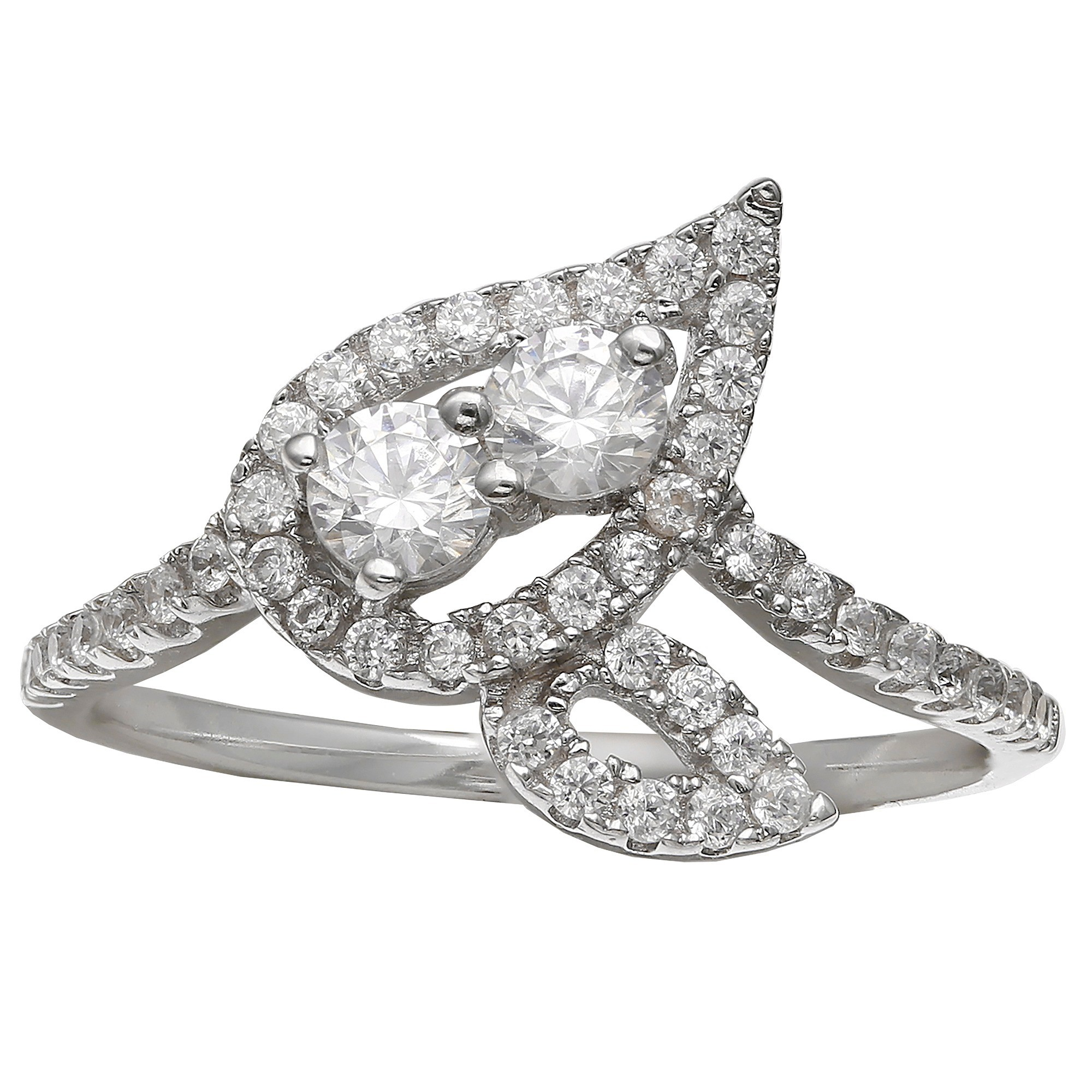 Women's Clear Swarovski Zirconia Pave Leaf Ring - Clear/Gray (Size 8), Clear Silver
