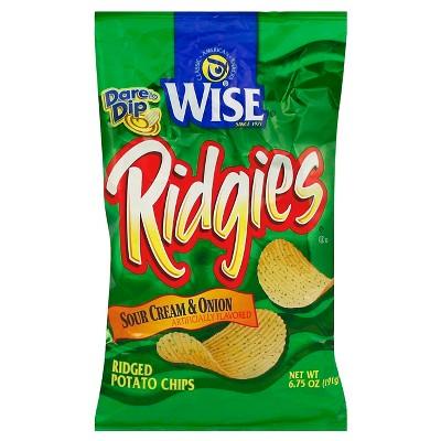 Wise Ridgies Sour Cream & Onion Ridged Potato Chips - 6.75oz