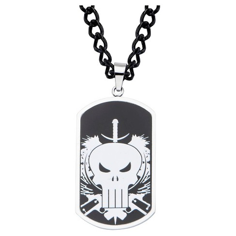 """Men's Marvel® Punisher Skull Logo Stainless Steel Dog Tag Pendant with Chain (24"""") - image 1 of 2"""