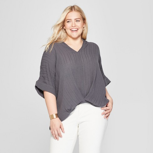 Women's Plus Size Wrap Front Blouse - Universal Thread™ Gray X - image 1 of 3