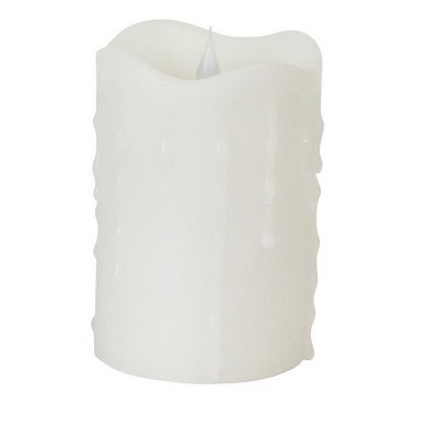 "Melrose 5.25"" Prelit LED Simplux Dripping Wax Flameless Pillar Candle with Moving Flame - White"