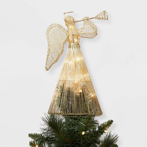 Angel Christmas Tree Topper.Lit Instrument Playing Angel Christmas Tree Topper Gold Wondershop