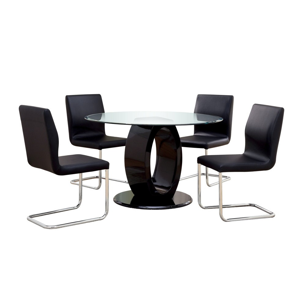 Image of 5pc Spearelton Oval Pedestal Round Dining Table Set Black - ioHOMES