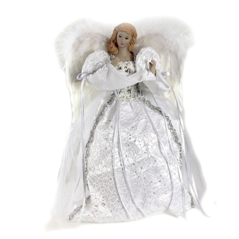 """Tree Topper Finial 14.0"""" White/ Silver Angel Tree Topper Free Standing Feather Wings  -  Tree Toppers - image 1 of 3"""