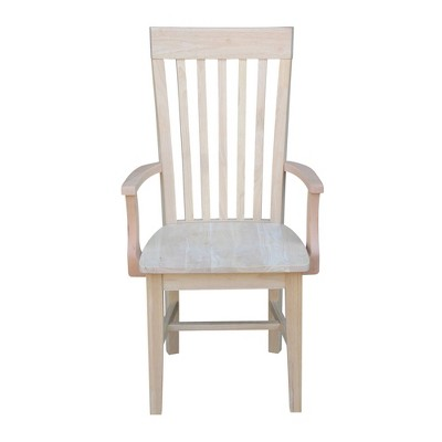 Tall Mission Chair with Arms Unfinished - International Concepts