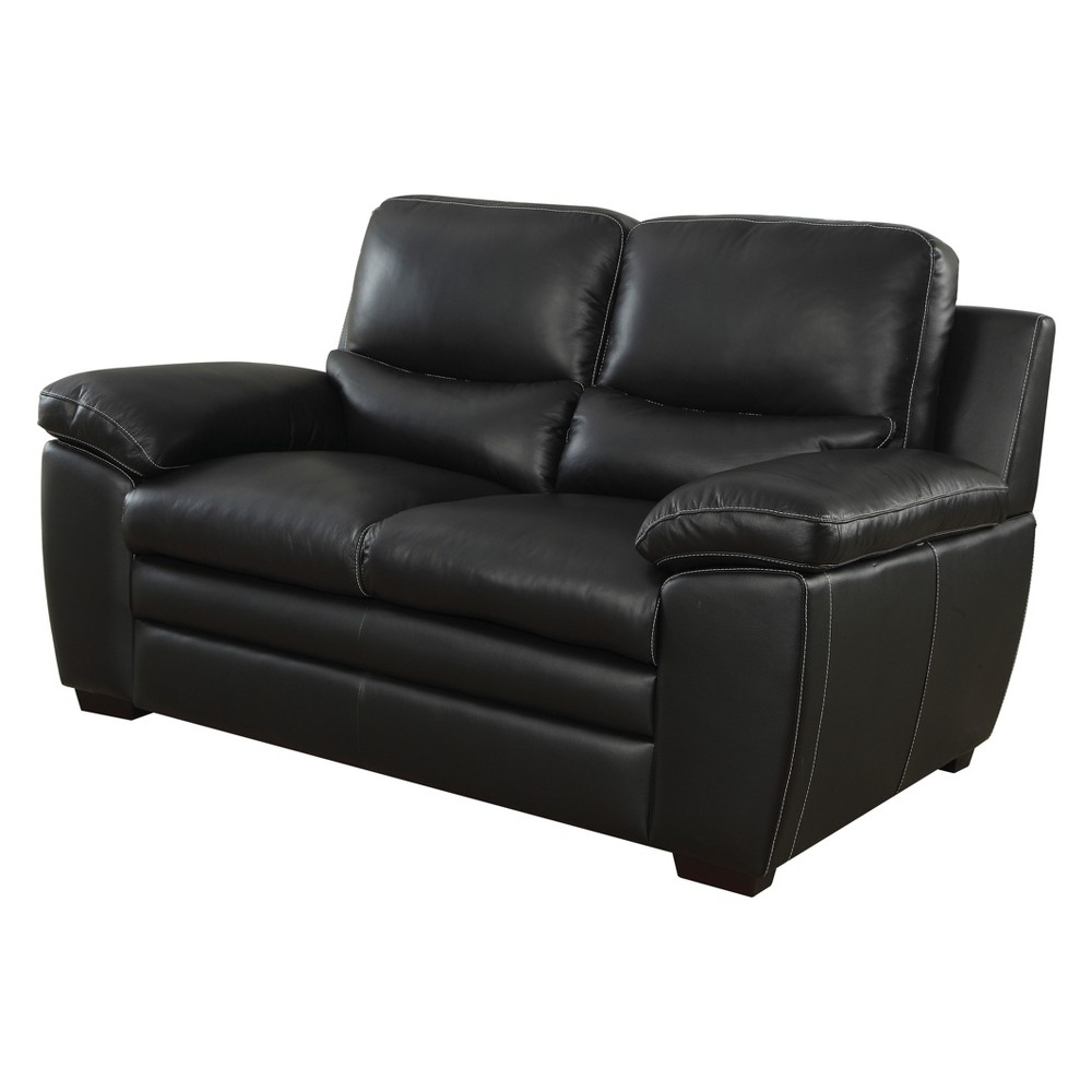 Iohomes Bonelli Contemporary Leatherette Love Seat Black - Homes: Inside + Out
