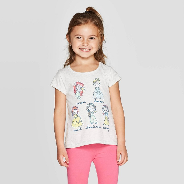 Toddler Girls' Disney Princess Group Traits T-Shirt - Gray - image 1 of 3