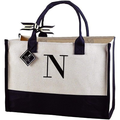 """Mud Pie Classic Canvas Initial Tote Bags , 100% Cotton, 17"""" x 19"""" x 2"""", Black and White"""