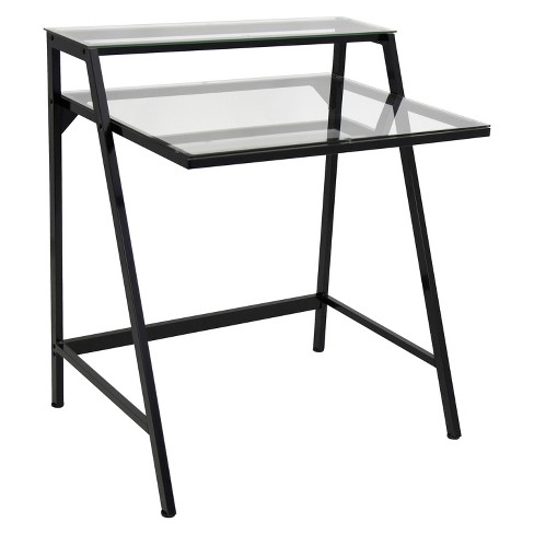 2-Tier Desk Black/Clear - LumiSource - image 1 of 7