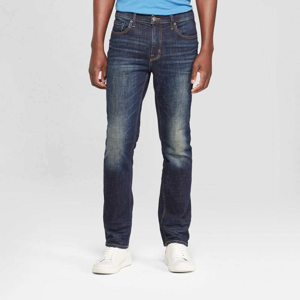 Men's Slim Straight Fit Jeans - Goodfellow & Co Dark Wash 38x30, Blue