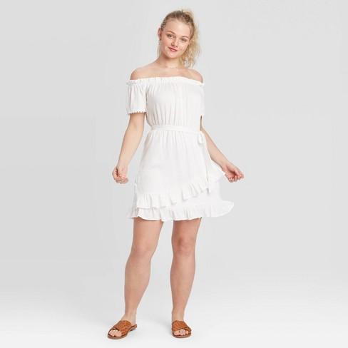 Women's Short Sleeve Ruffle Bottom Dress - Xhilaration™ White - image 1 of 2