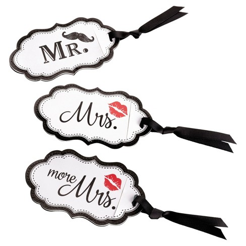 White Mustache & Red Lips Luggage Tags - image 1 of 1
