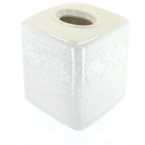 Blue Rose Polish Pottery White Lace Tissue Box - image 1 of 1