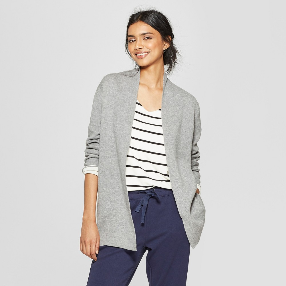 Women's Colorblock Open Cardigan - A New Day Gray/Cream (Gray/Ivory) Xxl