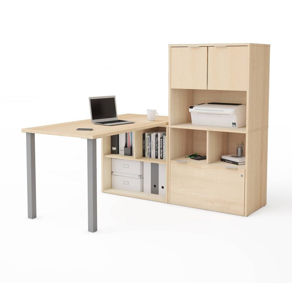 Image of I3 Plus L Desk with Hutch Northern Maple - Bestar, Northern Brown