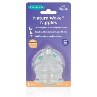 Lansinoh NaturalWAVE BPA-Free Silicone Baby Bottle Nipples- Medium Flow - 2pk