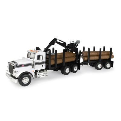 Big Farm Peterbilt Model 367 Logging Truck with PUP Trailer & Logs