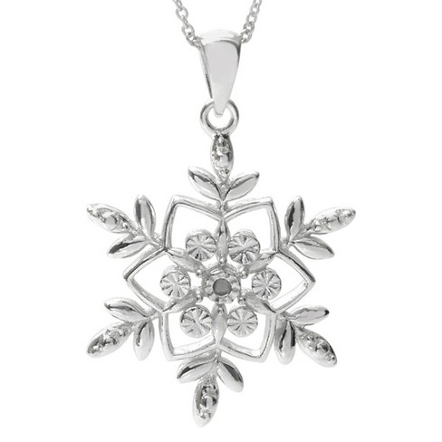 1/4 CT. T.W. Round-cut Diamond Basket Set Snowflake Pendant Necklace in Sterling Silver (JK-I1-I2) - image 1 of 1
