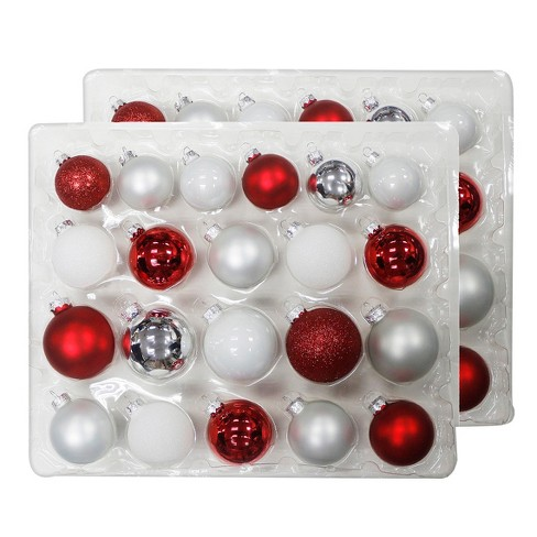 42ct christmas ornament set white silver and red wondershop target
