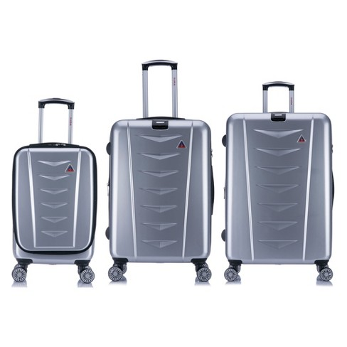 "InUSA AirWorld 3pc Hardside Spinner Luggage Set 20""& 24""& 28"" - Silver - image 1 of 7"