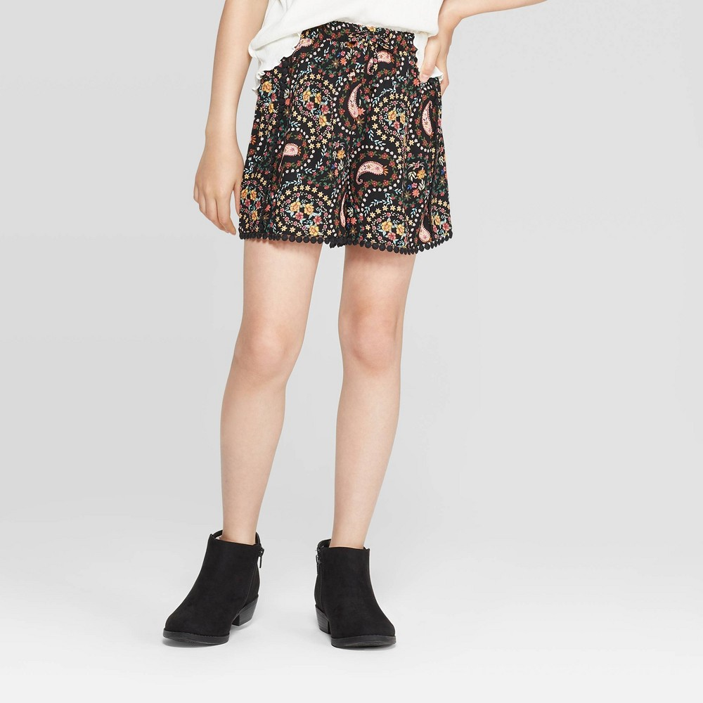Image of Girls' Floral Shorts - art class Black L, Girl's, Size: Large
