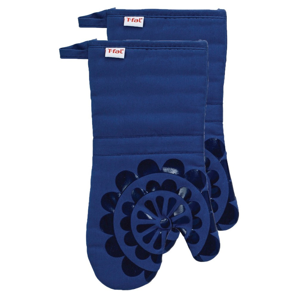 """Image of """"Bright Blue Medallion Silicone Oven Mitt 2 Pack (13""""""""x13"""""""") T-Fal"""""""