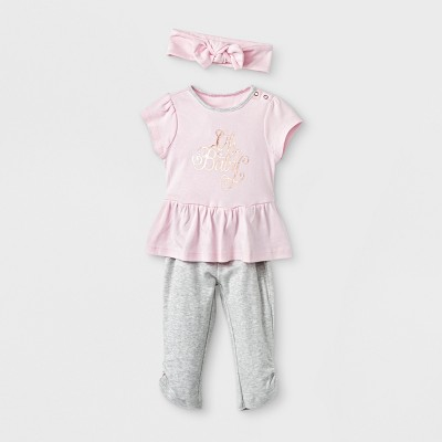 Baby Girls' 3pc Set - Cloud Island™ Pink 0-3M