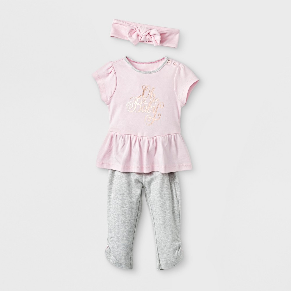 Baby Girls' 3pc Set - Cloud Island Pink 3-6M