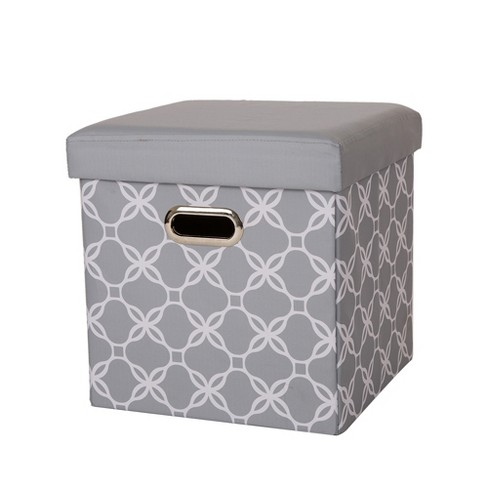 Swell Cube Foldable Storage Ottoman Gray Glitzhome Machost Co Dining Chair Design Ideas Machostcouk