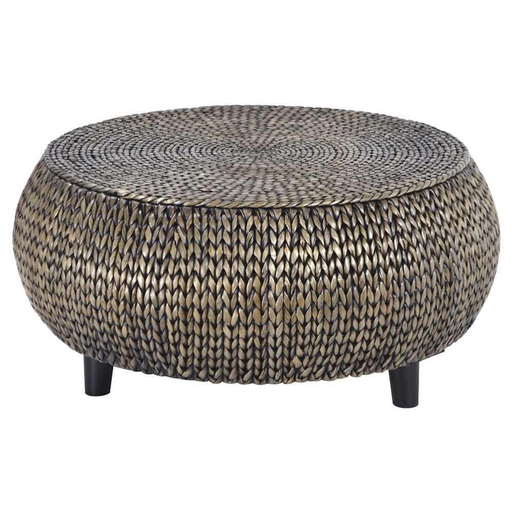 Bali Breeze Low Round Accent Table - Silver Patina - Gallerie Décor, Light Silver