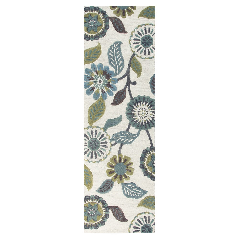 "Image of ""2'6""""X8' Floral Runner Brushed Sage - Rizzy Home, Size: 2'6""""X8' RUNNER, Brushed Green"""