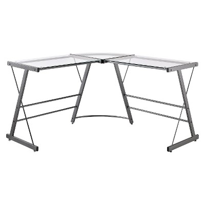 Portland Glass L Shaped Computer Desk Gray - Room & Joy