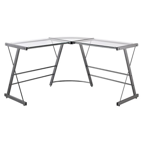 Portland Glass L Shaped Computer Desk Gray Room Joy
