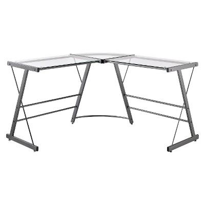 Portland Glass L Shaped Computer Desk Gray   Room U0026 Joy