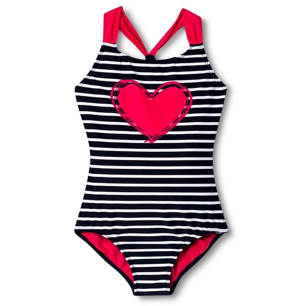Girls'1pc Striped Heart Swimsuit - Xhilaration Red Parrot S, Red Parrot Heart