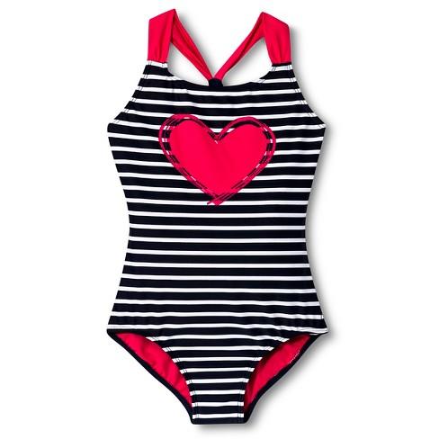 c928163445b98 Girls' 1-Piece Striped Heart Swimsuit - Xhilaration™ : Target