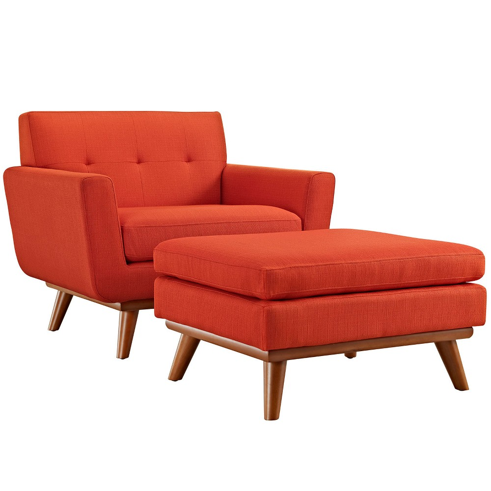 Engage 2pc Armchair and Ottoman Atomic Red - Modway