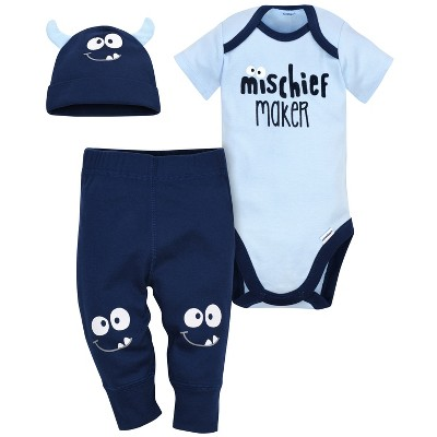 Gerber® Baby Boys' 3pc Monster Bodysuit, Cap and Pant Set - Blue/Navy 6-9M