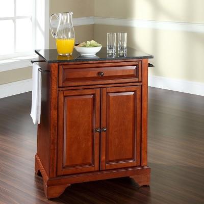 LaFayette Solid Black Granite Top Portable Kitchen Island Wood/Classic  Cherry Finish   Crosley