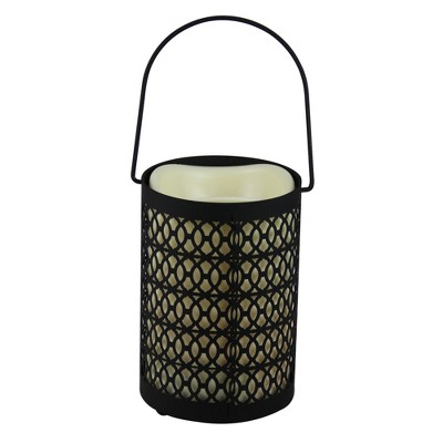 """Melrose 12"""" Black Opulent Battery Operated Indoor LED Candle Lantern with Timer"""