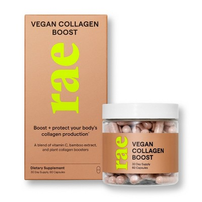 Rae Vegan Collagen Boost Dietary Supplement Capsules for Natural Collagen Production - 60ct