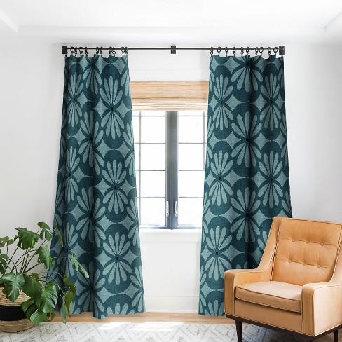 Heather Dutton Solstice Teal Single, Panel Curtain Pattern