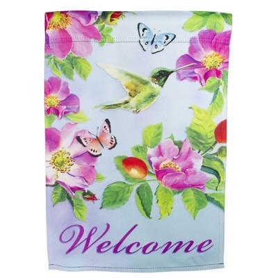 "Northlight Welcome Hummingbird Floral Outdoor Garden Flag 12.5"" x 18"""