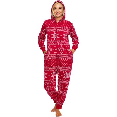 Silver Lilly Holiday Fair Isle Slim Fit Women's Novelty Union Suit