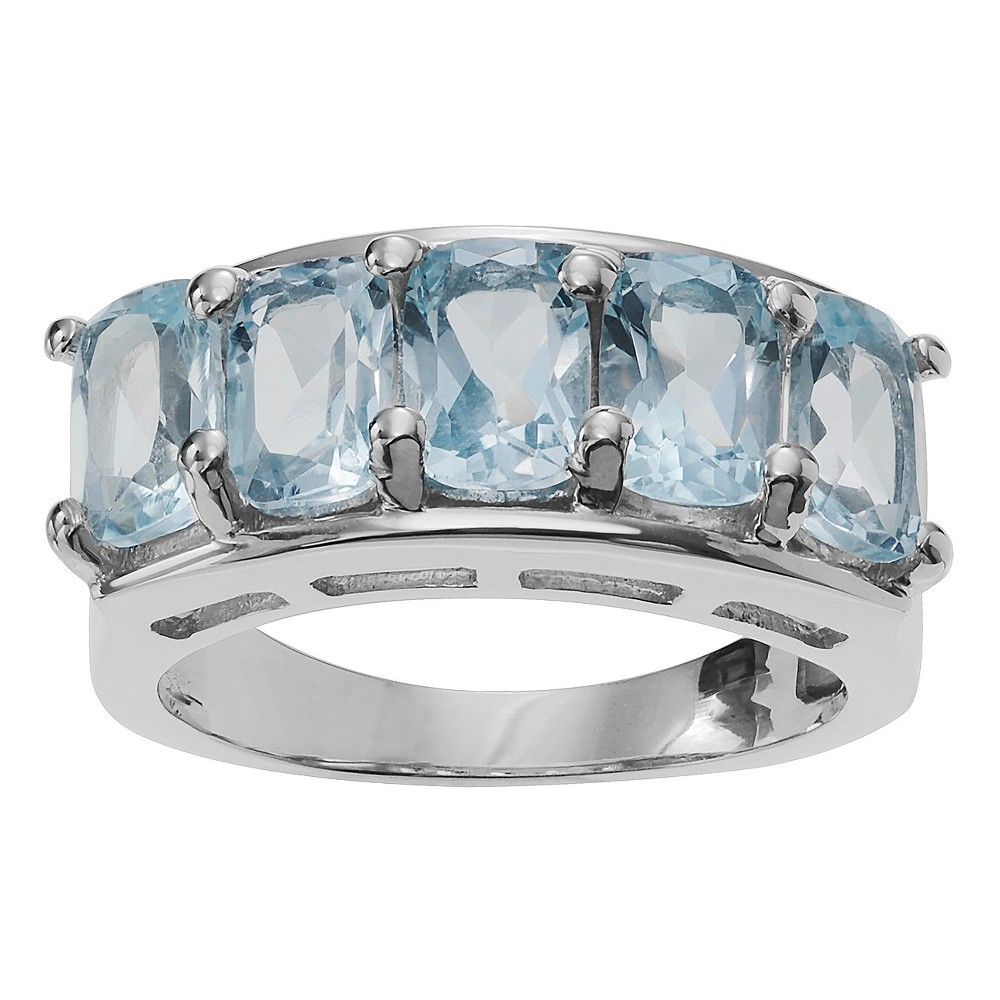 1 1/3 CT. T.W. Cushion-Cut Topaz Five-stone Prong-Set Ring in Sterling Silver - Blue (7), Girl's